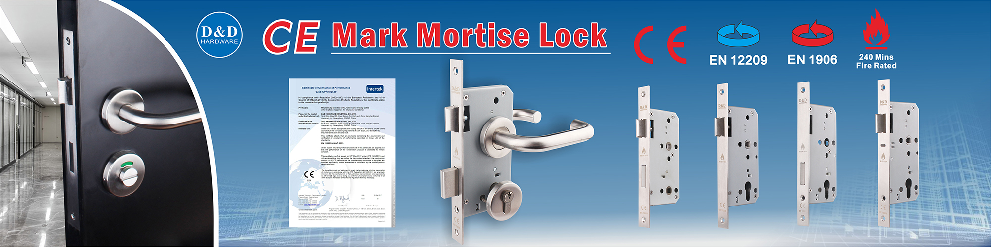 120 minutes fire rated mortise lock